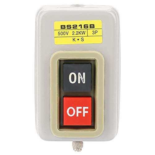 Interruptor de botón, Interruptor de botón de encendido y apagado, Plástico, Hierro Práctico autobloqueo para circuito de encendido/apagado del motor