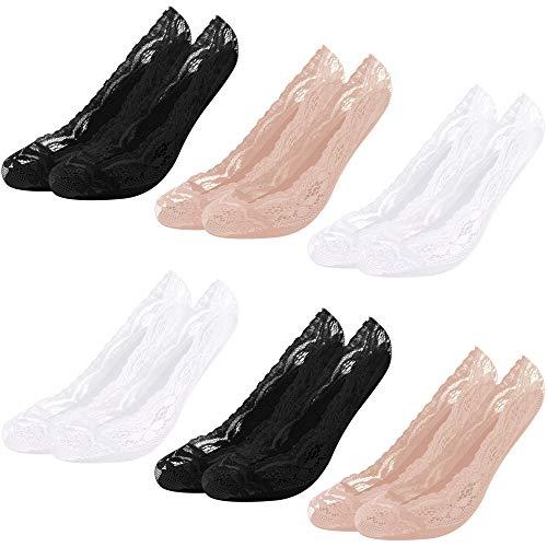 Libella 10 Pares Calcetines Invisibles Mujer Calcetines de bailarina Antideslizante de malla de encaje algodón de silicona Respirable 2012 39-42