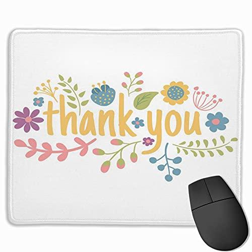 Gaming-Mauspad, Premium-strukturierte Mauspad-Pads, niedliches Mousepad für Spieler, Büro- und Heimkranz Rosa niedliches Blumenarrangement Vielen Dank, dass Sie Blumen-Zusammenfassung schreiben