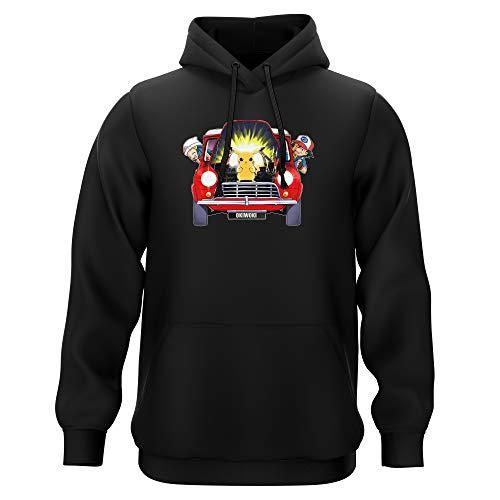 Okiwoki Sweat-Shirt à Capuche Noir Parodie Pokémon - Pikachu, Sasha et Aurore - Pika dépannage (Sweatshirt de qualité Premium de Taille M - imprimé en France)
