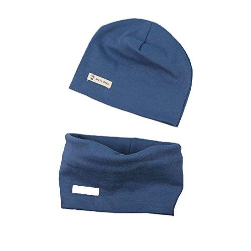 Boomly Autunno e Inverno Caldo Cute Tinta unita Morbido Cappello in Cotone Berretto e Sciarpa Scaldacollo Sciarpa per Bambino (Blu, Taglia M adatto per 7 mesi -3 anni)