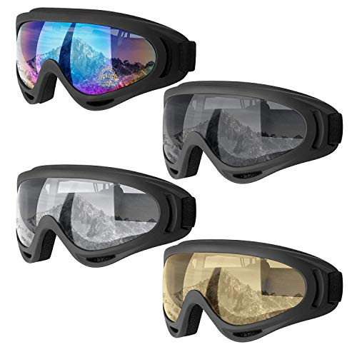 Dapaser 4 Pack Ski Goggles, Snowboard Goggles for Adults Men Women Youth Kids Boys Girls, Soft Motorcycle Atv Winter Sport Goggles with Anti Fog Glare UV 400 Protection, Wind Resistance Snow Goggles