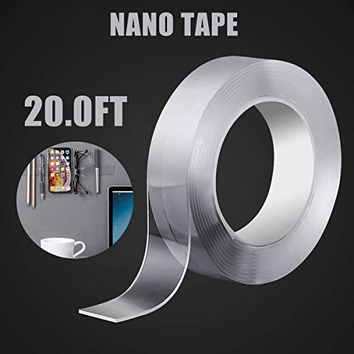 BROOM Double Sided Tape Heavy Duty (20FT) ,Nano Tape for Walls Traceless Removable Washable Gel Grip Tape, Clear Sticky Adhesive Mounting Tape Removable Clear Anti Slip Fix Rug Tape for Home Office