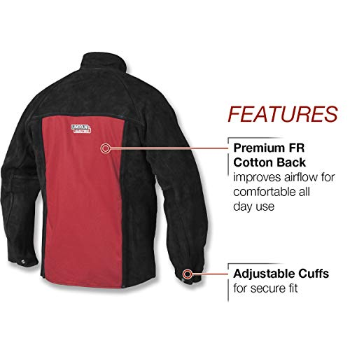 Lincoln Electric Heavy Duty Leather Welding Jacket | Ideal for High Amperage or Out of Position Welding | Large | K2989-L,Black/Red