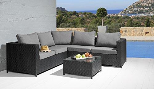 Wholesaler GmbH Sitzgruppe Comfortlounge 3 tlg. schwarz Gartengarnitur Lounge Möbel Sofalounge