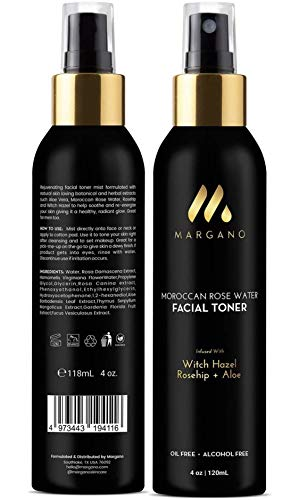 Natural Rose Water Facial Toner w/Witch Hazel, Rosehip, Aloe Vera |Tone, Sooth, Moisturize, Set Makeup, Restore pH. Face Toner. All Skin Types. Alcohol Free. Oil Free, 4oz