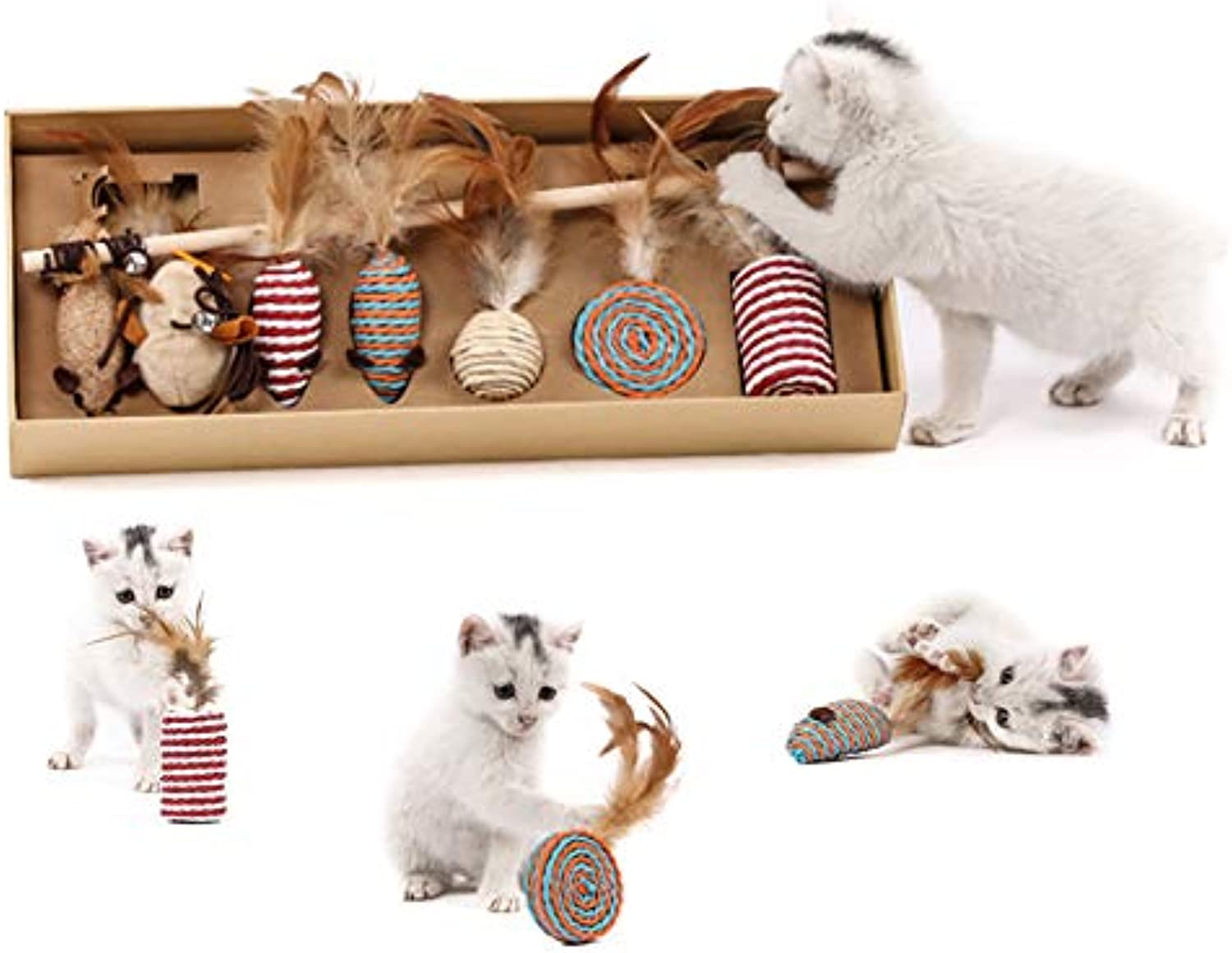 Cat Toys Set Gift Pack Feather Bell Funny Cat Funny Cat Ball Burlap Mouse Molar BiteResistant Catnip Toy Suitable for Indoor and Outdoor Sports, Training and Running