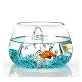 Tanque de cristal para peces y tortugas, mini ecosistema acuapónico, con arena de vidrio y plantas de imitación, para decoración de mesa de té de oficina