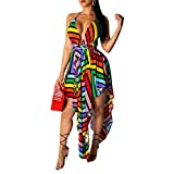 IyMoo Womens Dresses Summer Casual V-Neck Backless Floral Print Geometric Pattern Belted Dress Multicolored S