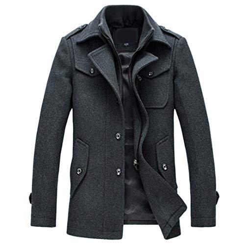 Abrigo para Hombre Abrigo de Lana de Invierno Chaquetas Ajustadas Prendas de Abrigo Chaqueta cálida Abrigo Chaquetón Gray 4XL