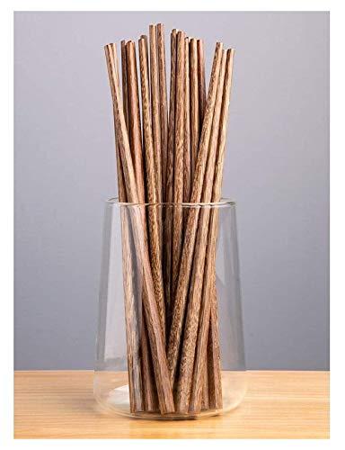 WANGQW Chopstick Reutilizable Set Lavavajillas-Caja fuert Palillos de Madera, sin Madera lacada, sin Cera, Palillos Antideslizantes, 10 Pares, Palillos de 25 cm de Largo