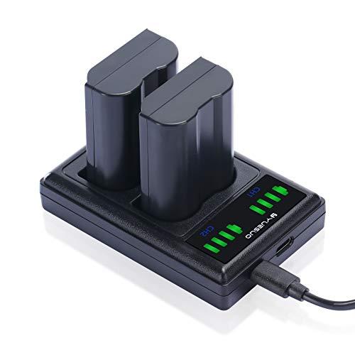 YUESUO Batería de repuesto EN-EL15 (2 unidades) y cargador Smart LED Dual USB para Nikon EN-EL15/EL15a D750, D7500, D850, D810, D810A, D800, D800E, D7200, D500, D610, D600
