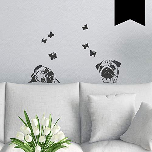 WANDKINGS Wandtattoo Möpse mit Schmetterlingen - A4 Set 21 x 30 cm - Schwarz - 35 Farben zur Wahl