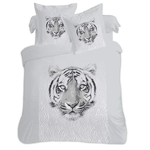 Vision - Funda nórdica de tigre (260 x 240 cm, 100% algodón)