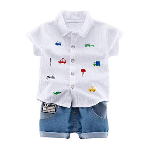 Gyratedream Baby Jongen Kleding Set Voor 0-4 Jaar, Zomer Baby Jongens Korte Mouw Cartoon Auto Print Tops Blouse Shirt+Shorts Kinderen Casual Outfits Sets, 1-2 Years, Kleur: wit