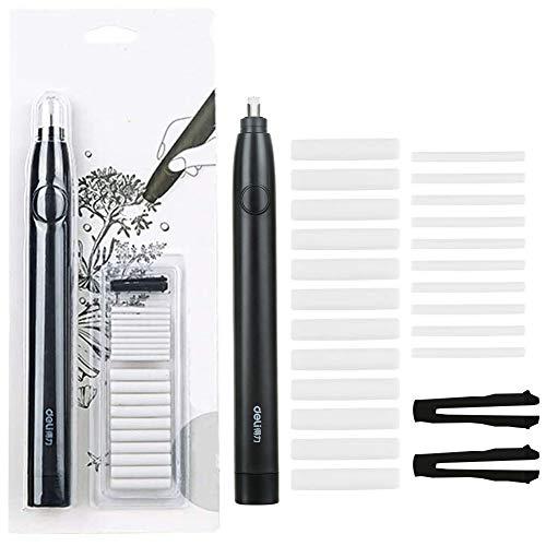 BAIBEI Kit de borrador eléctrico, borrador de lápiz de goma portátil automático con batería, con recambios de goma de 20 piezas (diámetro 2,5 mm 10 piezas y 5 mm 10 piezas), negro