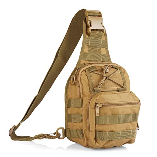 Roaring Fire Tactical Single Shoulder Bag, Crossbody Military Backpack, Molle Assault Sling Backpack for EDC, Camping, Hiking, Trekking, Cycling, and Outdoor Sports