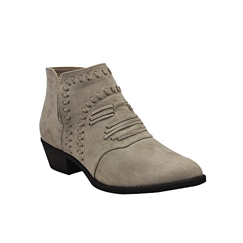 Qupid Sochi-152 Womens Whipstitch Ankle Bootie Taupe Suede Pu Size 6.5