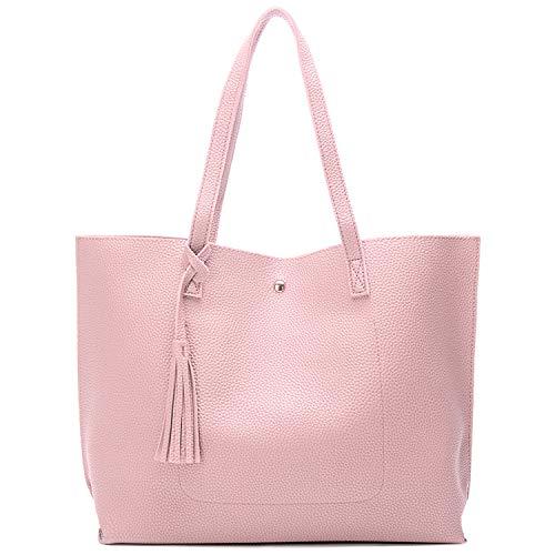 Myhozee Handtasche Damen Tasche PU-Leder Schultertasche Große Casual Tasche Handtaschen Shopper Shopping Bag Umhängetasche Tasche für Alltag Büro Schule Ausflug Einkauf, Rosa