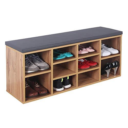 RICOO WM033-EW-A Skoställ med säte 104x49x30 cm, Skor bänk skoskåp skoförvaring garderob sko organizer möbler hylla skostativ shoe rack, Trä brun ek
