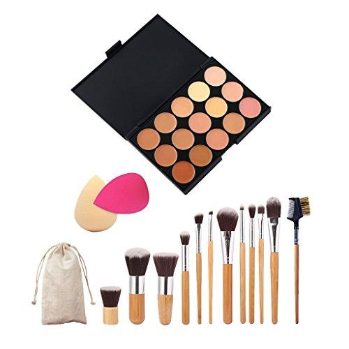 MagiDeal Set 11pcs Pinceaux Maquillage Yeux Visage +Pinceaux Sourcil+2pcs Eponge+Palette Concealer
