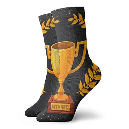 wwoman Neuheit lustige verrückte Crew Socke goldene Trophäe Cup auf dunklen gedruckten Sport Athletic Socken 30cm lange personalisierte Geschenk Socken