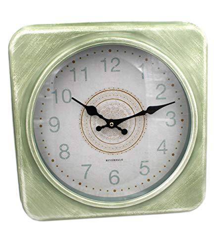 Riverdale Große XXL-Wanduhr aus Metall, modernes Design, grün eckig Uhr 35x35x6,5cm BO Celadon