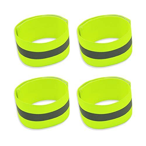 Labewin Brassards réfléchissants Bracelets réfléchissants pour la Course Bracelets élastiques pour Chevilles élastiques de Haute visibilité pour Le Cyclisme Marche Jogging Course à Pied (Lot de 4)