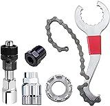 Herramienta de eliminación de casete de bicicletas de 7 en 1: conjunto de herramientas de reparación de bicicletas multifuncional, látigo de cadena compatible, tirador de manivela del soporte inferior
