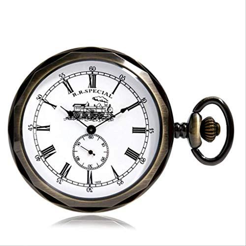 KUANDARGG 30cm Cadena Los Mejores Regalos De Cumpleaños Reloj De Bolsillo Tren Números Romanos Diseño Dial Reloj De Bolsillo Mecánico Reloj De Bolsillo Vintgae, Bronze