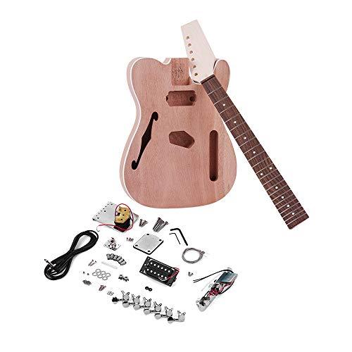 Muslady Kit de bricolage guitare électrique inachevé TL Tele Style Corps Acajou Manche En Bois De Rose Palissandre