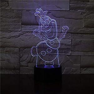 3D Led Night Light Lamp Snowman Olaf for Kids Bedroom Decor KATA