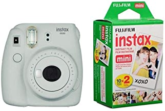 Fujifilm Instax Mini 9 (Smokey White) Instant Camera with Mini Film Twin Pack