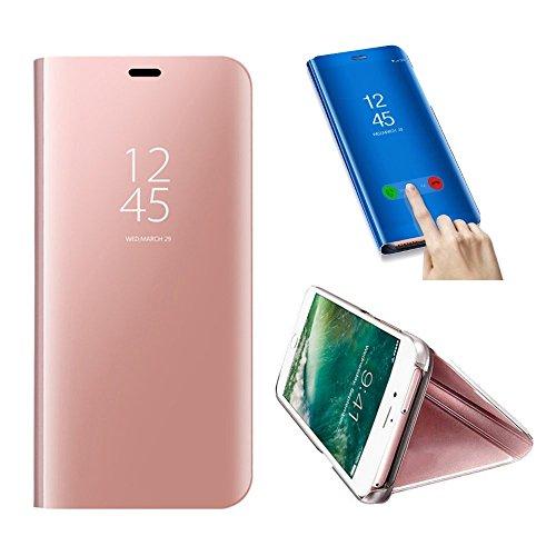 SevenPanda Cas de téléphone en métal pour Samsung Galaxy J530, Samsung J5 2017 Miroir Coque, Flip Stand Miroir Housse Portable Intelligent Sleep/Wake Fonction Livre PC Cover - Rose