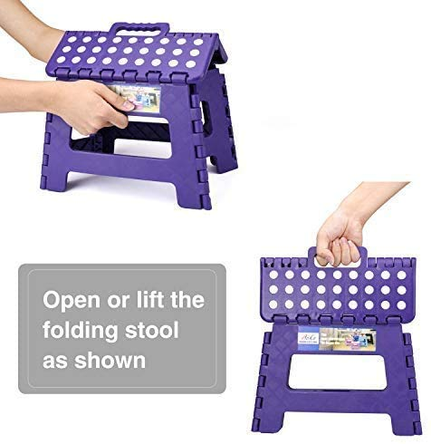 Delxo Acko Folding Step Stool Portable Collapsible Plastic Step Stool,9 inch Foldable Step Stool for Kids,Non Slip Folding Stools for Kitchen Bathroom Bedroom Purple