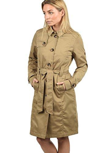 DESIRES Thea Damen Trenchcoat Mantel Übergangsjacke mit Reverskragen und Gürtel, Größe:XL, Farbe:Sand (4073)