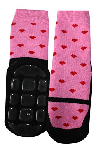 Weri Spezials Baby und Kinder Voll-ABS Frotee Anti-Rutsch Socken für Mädchen in verschiedenen Mustervariationen (23-26, Schwarz-Dunkelrosa Tanzschuhe)