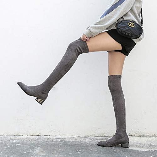 HOESCZS Bottes Martin Bottes d'hiver Nouvelle sur Le Genou Bottes en Cuir Femme Bottes Martin Chaussures à Talons Hauts Antidérapant