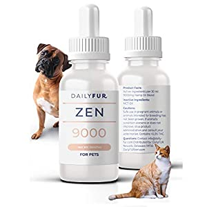 DailyFUR Organic Hemp Oil for Cats and Dogs - for Stress, Anxiety & Arthritis Pain Relief - Vet Recommended Anti-Itching Calming Drops for Pets - 1oz