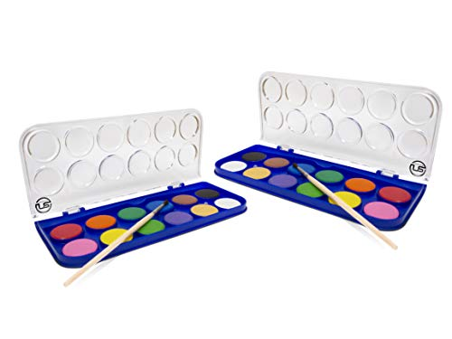 2 Pack Watercolor Paint Set 12 Vivid Colors Includes Watercolour Mixing Palette and 1 Brushe, Perfect For Artists, Beginner Painters, Kids and Adult Painting