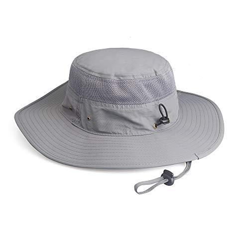 Fishing Hat Sun Hat UV Protection Wide Brim Cap for Men Women Boonie for Safari Beach Golf Light Gray