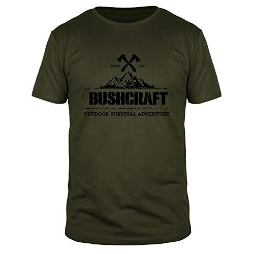 FABTEE - Bushcraft Outdoor Survival Adventure Herren Shirt   Plus Gratis Aufkleber Größen bis 3XL, Größe:L, Farbe:Oliv