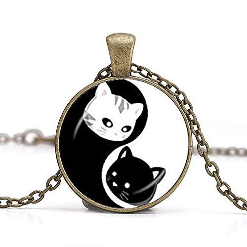 Collar hecho a mano de Yin Yang con diseño de gatos Ying Yang