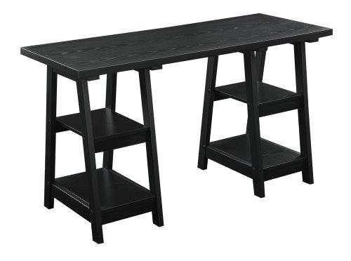Convenience Concepts Designs2Go Double Trestle Desk, Black
