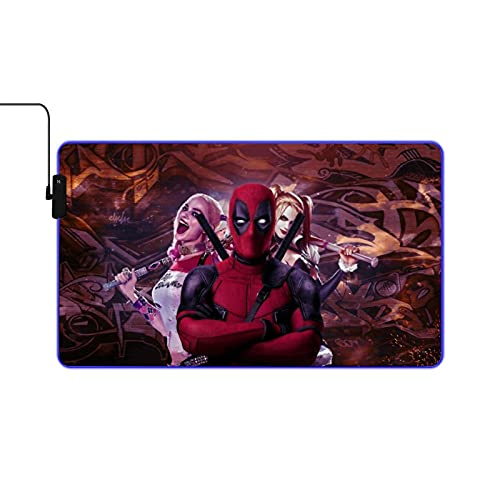 Harley Quinn and DEA-dpool RGB Game Mouse pad Large Scale Expansion Multiple Lighting Modes LED Soft Mouse pad Non Slip Rubber Base Suitable for pro Gamer 23.6x13.7inch Computer Keyboard Mouse pad