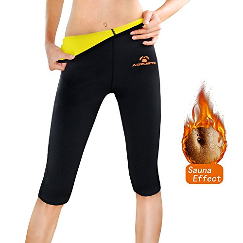 AGROSTE Womens Neoprene Sauna Slimming Pants-Fat Burning Hot Thermo Sweat Sauna Capris Leggings Shapers for Weight Loss
