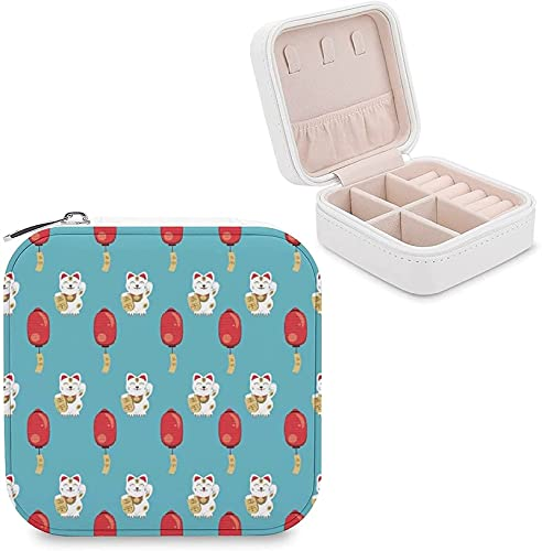 CHENWE Caja organizadora de viaje para joyas, linternas rojas, organizador de joyas para gatos, mini estuche de almacenamiento portátil, perfecto para mujeres