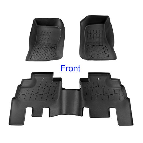 APS 3 pcs Textured Black Waterproof Floor Liner | 2007-2018 Jeep Wrangler JK 4 Door | Front & Rear Floor Mats (Not for JL)