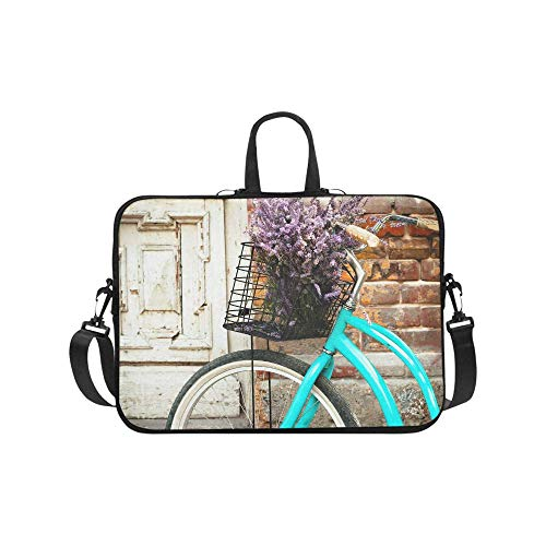 InterestPrint Vintage Bicycle with Basket and Lavender Flowers Near The Old Wooden Door 17 17.3 Inch Water Resistant Neoprene Protective Laptop Notebook Sleeve Shoulder Bag with Handle & Strap