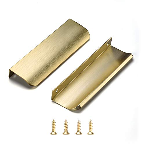 Satanga Cabinet Pulls Kitchen Hardware ,Closet Pulls,Square Bar Pulls, Drawer Pulls, 5Pack,Easy to Install ((3.15inch)80mm, Brushed Gold)